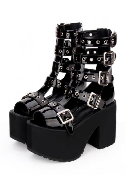 61afe096ea83 Black Gothic Punk Rivet Belt Platform Sandals - Devilnight.co.uk