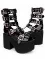 Black Gothic Punk Rivet Belt Platform Sandals