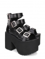 Black Gothic Punk Buckle Belt Platform Sandals