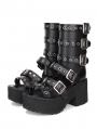 Black Punk Rivet Buckle Belt Platform Sandals