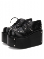 Black Gothic Punk Rivet Lace-up Platform Shoes