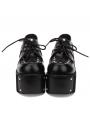Black Gothic Punk Rivet Lace-up Platform Shoes