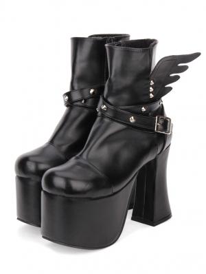 Black Gothic Punk Rivet Wing High Heel Boots