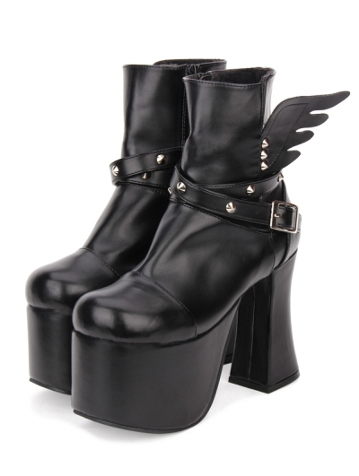 Black Gothic Punk Rivet Wing High Heel Boots