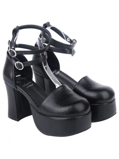 Black Gothic Buckle Belt High Heel Sandals