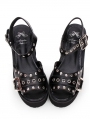 Black Gothic Punk Rivet Platform Shoes