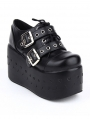 Black Gothic Punk Rivet Belt Lace-up Platform Shoes