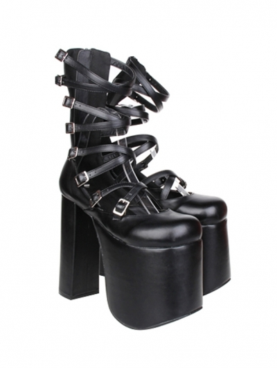 Black Gothic Punk Buckle Belt High Heel Sandals