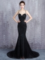 Black Gothic Lace Appliqued Sexy Mermaid Wedding Dress