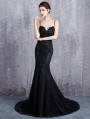 Black Gothic Lace Appliqued Sexy Mermaid Wedding Dress