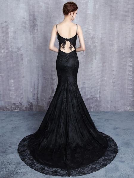 Black Gothic Lace Appliqued Sexy Mermaid Wedding Dress Devilnight Co Uk
