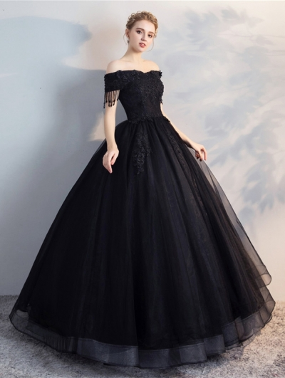 Black Gothic Off-the-Shoulder Lace Appliqued Ball Gown Wedding Dress