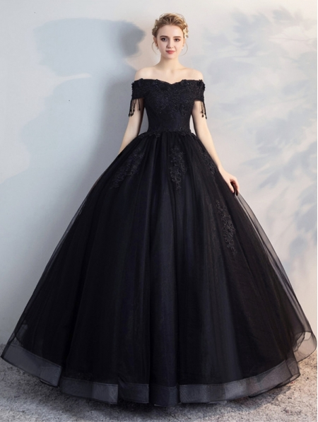 Black Lace Wedding Dresses Ball Gowns