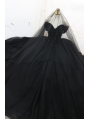 Black Gothic Off-the-Shoulder Beading Ball Gown Wedding Dress