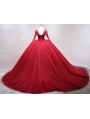 Red Gothic Beading Long Sleeves Ball Gown Wedding Dress