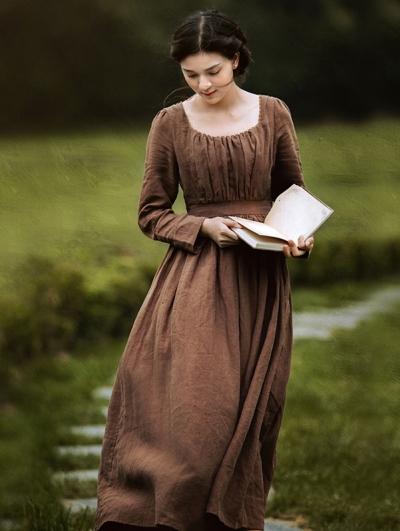 Brown Vintage Medieval Inspired Underwear Dress