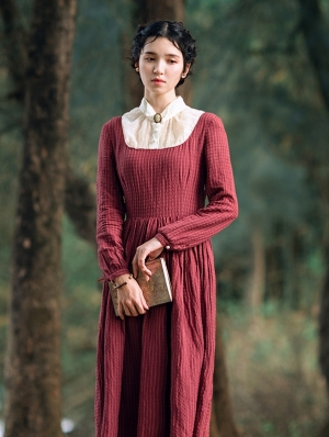 Red Long Sleeves Vintage Medieval Inspired Dress