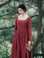 Red Long Sleeves Vintage Medieval Inspired Dress