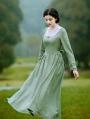 Green Long Sleeves Vintage Medieval Inspired Underwear Dress