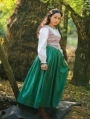 Ivory and Green Two Pieces Vintage Medieval Inspired Dress