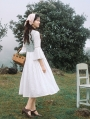 White Fake Two Pieces Medieval Inspired Dress
