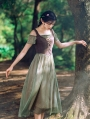 Green and Brown Off-the-Shoulder Medieval Inspired Dress
