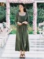 Green Long Sleeves Vintage Medieval Inspired Dress