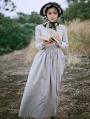 Ivory Long Sleeves Vintage Medieval Inspired Dress