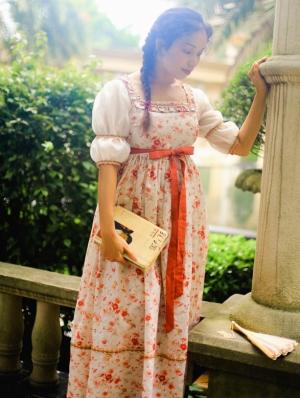 Floral Short Sleeves Vintage Medieval Inspired Dress