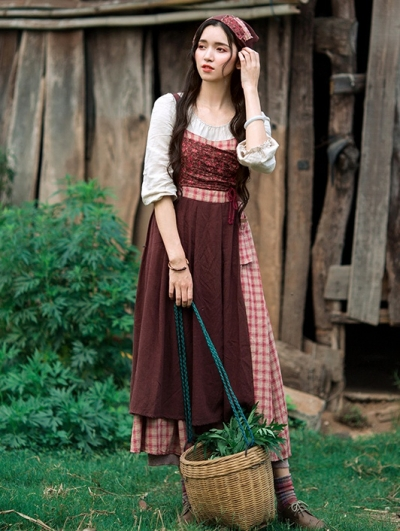 Vintage Fake Two Pieces Medieval Inspired Dress