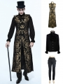 Gold Vintage Gothic Vest Suit for Men