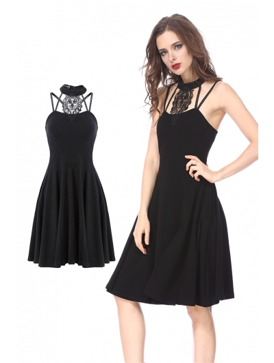 Black Gothic Dress with Star Back