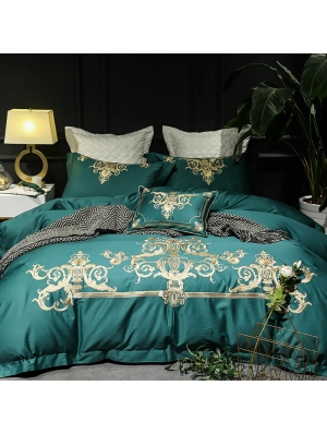 Green Vintage Embroidery Comforter Set