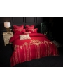 Red Vintage Palace Embroidery Comforter Set