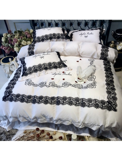 White Floral Embroidery Lace Comforter Set