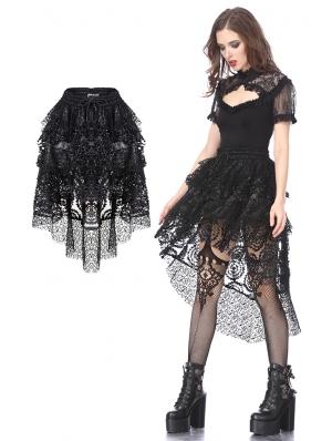 Black Gothic Punk Messy Short Skirt