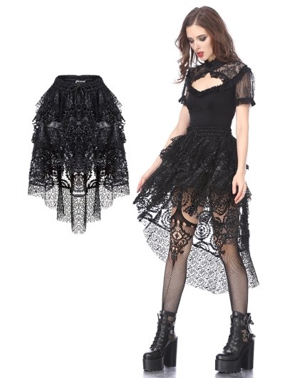 Black Gothic Punk Messy Short Skirt