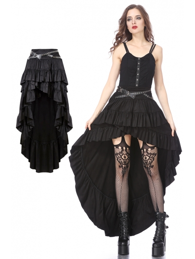 Black Gothic Punk Rivet Belt High-Low Skirt
