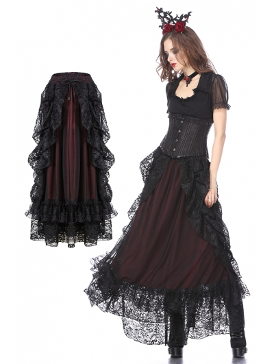 Black and Red Gothic Eleglant Lace Long Skirt