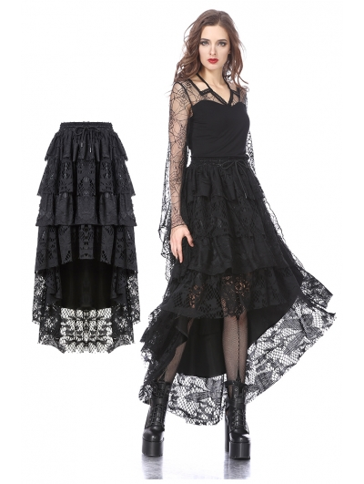 Black Gothic Punk Layers Lace High-Low Skirt