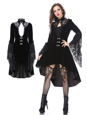 Black Vintage Gothic Noble Velvet Cocktail Coat for Women