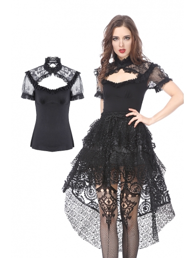 Black Gothic Lace Knitted T-Shirt for Women