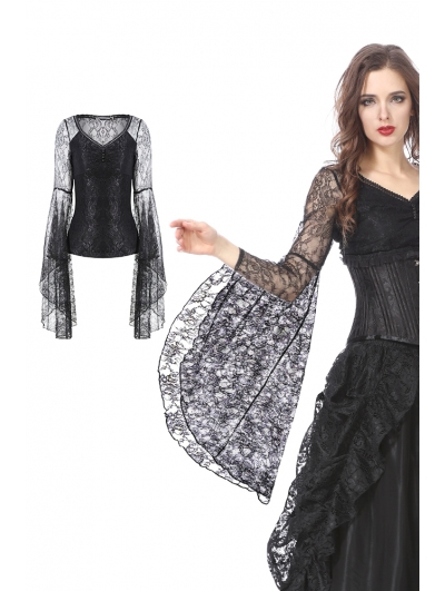 Black Gothic Lace Trumpet Sleeves T-Shirt for Women