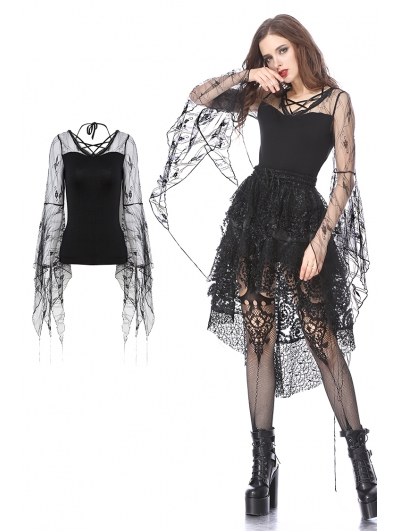 Gothic Transparent Flower Trumpet Sleeves T-Shirt for Women