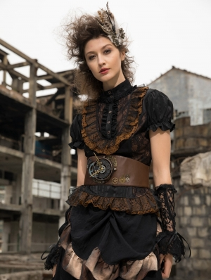 Women's Black Gothic Steampunk Lace Short Sleeve Shirt