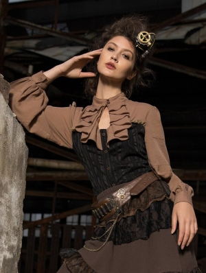Women's Black and Coffee Steampunk Corset Style Shirt