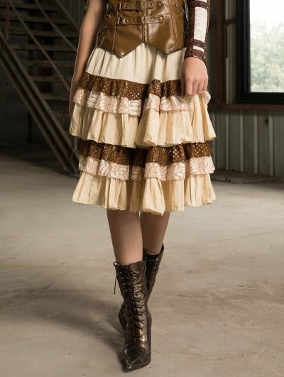 Women's Coffee Layer Short Steampunk Skirt