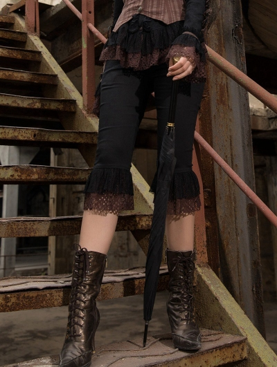 Women's Black Knee Length Steampunk Pants