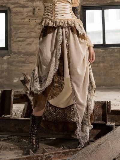 Women's Lace Irregular Steampunk Skirt