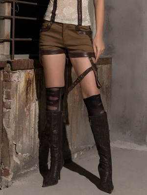 Women's Coffee Steampunk Shorts with Pocket